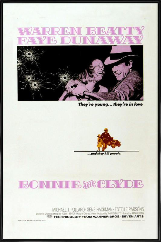 'Bonnie and Clyde' Retro Movie Poster -Bild mit Kunststoffrahmen