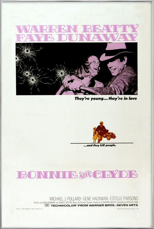 'Bonnie and Clyde' Retro Movie Poster -Poster im Alurahmen