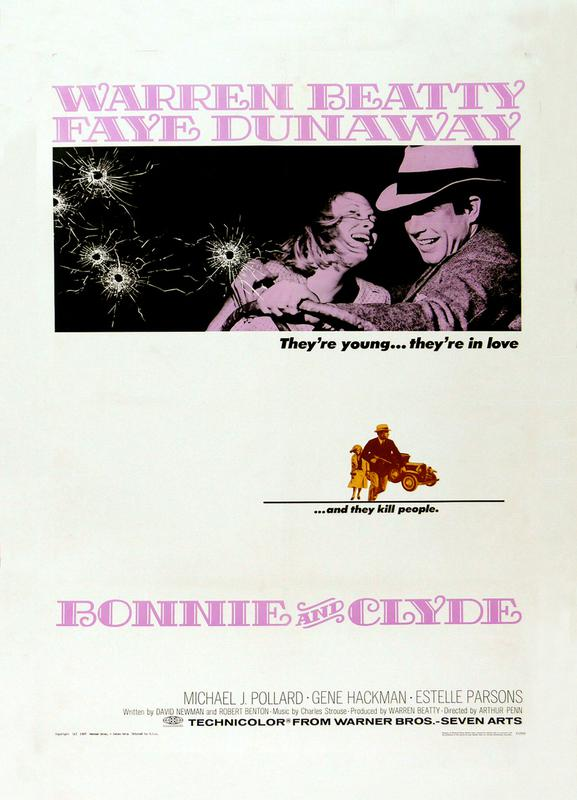 'Bonnie and Clyde' Retro Movie Poster -Leinwandbild