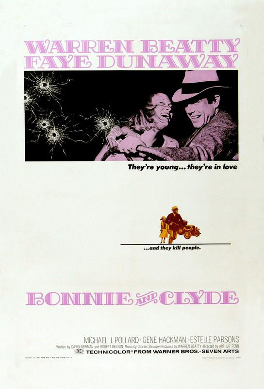 'Bonnie and Clyde' Retro Movie Poster -Alubild