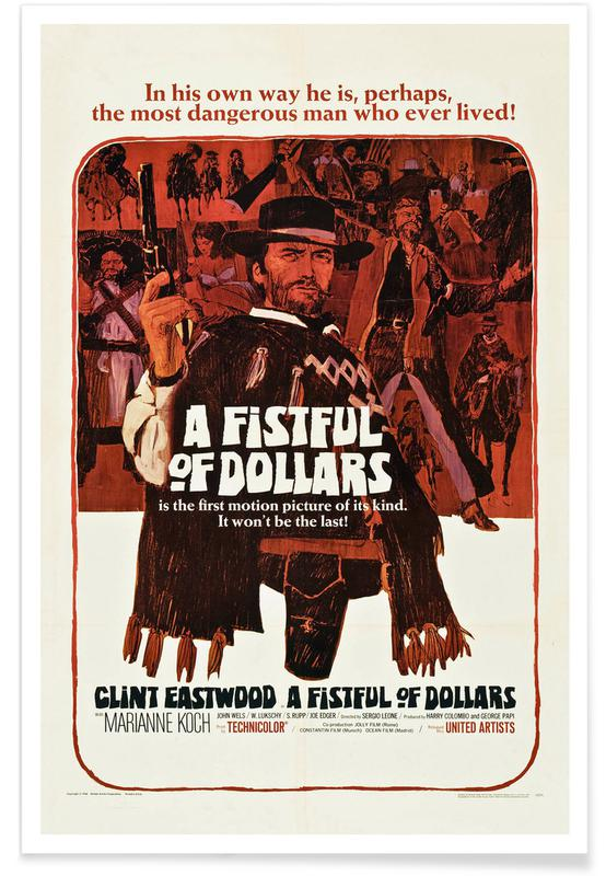 Clint Eastwood, Film, 'A Fistful of Dollars' Retro Movie Poster Plakat