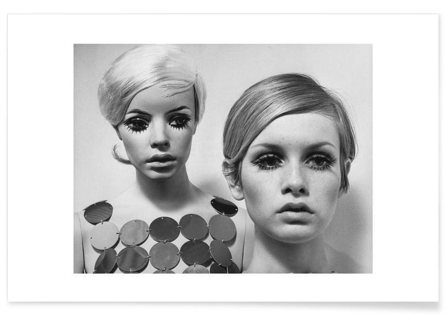 Noir & blanc, Vintage, Twiggy and Mannequin, 1966 affiche