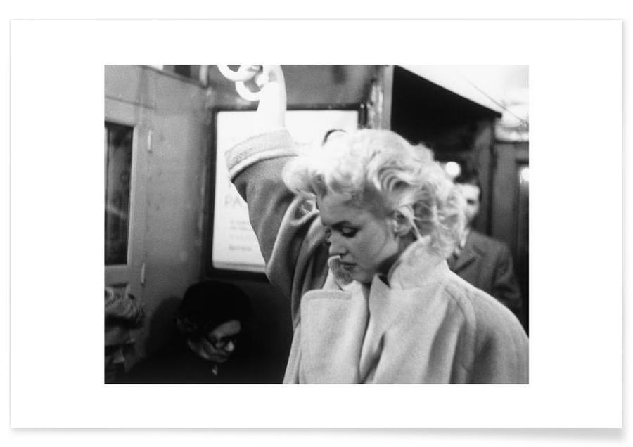 Marilyn Monroe, Noir & blanc, Marilyn Monroe, dans le métro - Photographie affiche