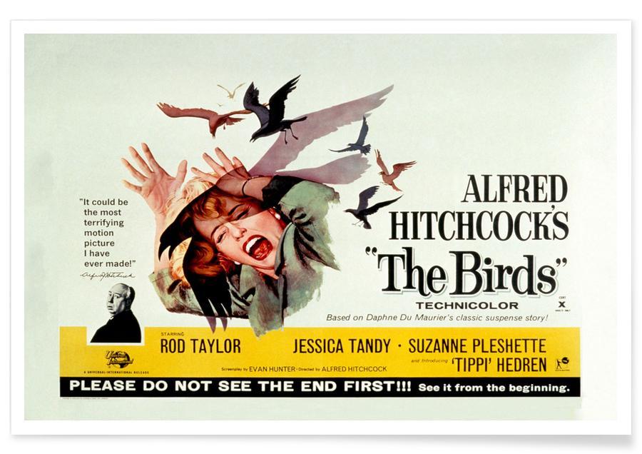 Films, Les oiseaux d'Alfred Hitchcock - Film rétro affiche