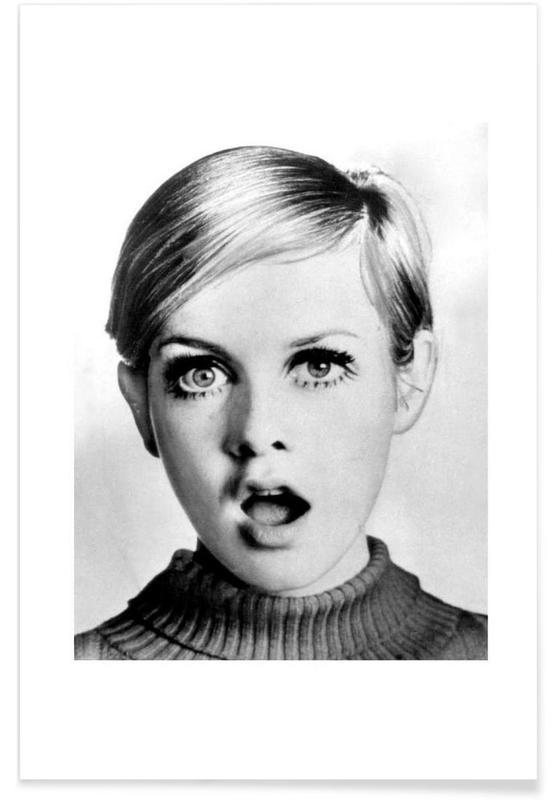 Sort & hvidt, Vintage, Twiggy, 1966 Vintage Photograph Plakat