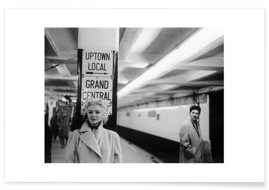 Marilyn Monroe, Noir & blanc, Marilyn Monroe à la gare Grand Central - Photographie affiche