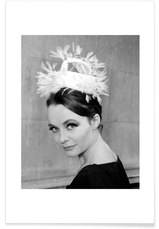 Sort & hvidt, Vintage, Tania eyde in cocktail hat, 1962 Plakat