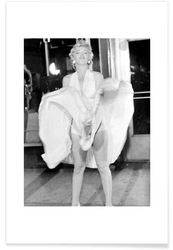 Marilyn Monroe, Noir & blanc, Vintage, Marilyn Monroe, 1954 Seven Year Itch affiche