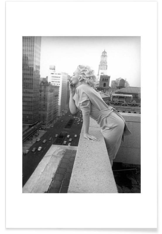 Sort & hvidt, Marilyn Monroe, Marilyn Monroe in New York, 1955 Photograph Plakat