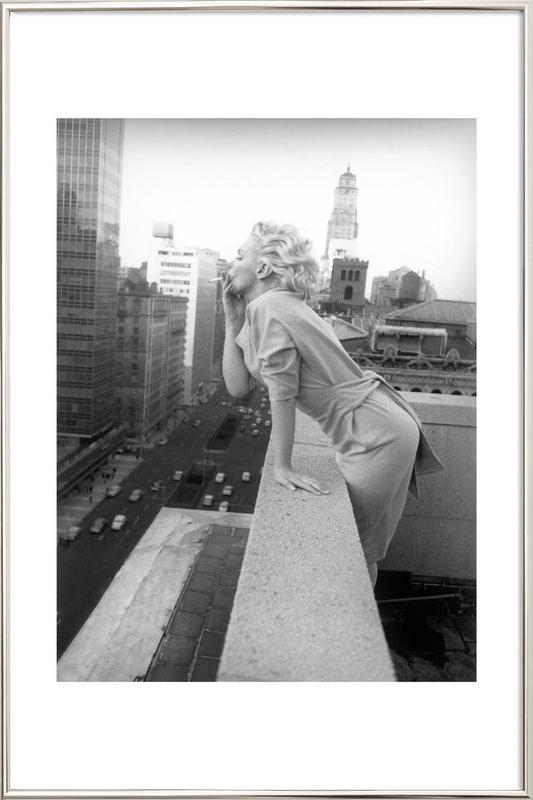 Marilyn Monroe in New York, 1955 poster in aluminium lijst