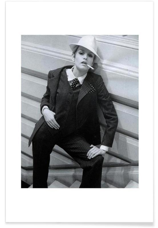 Noir & blanc, Vintage, Twiggy Lawson, février 1967 - Photographie affiche