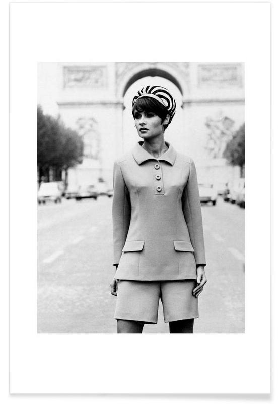 Photos de mode, Noir & blanc, Vintage, Outfit created by Pierre Balmain for airline hostesses of the future. affiche