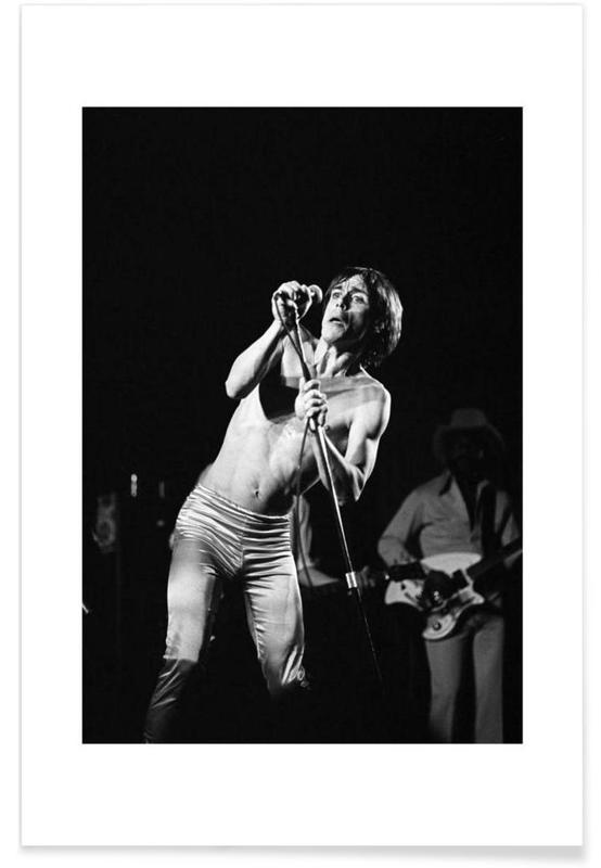 Noir & blanc, Iggy Pop - Photographie vintage affiche