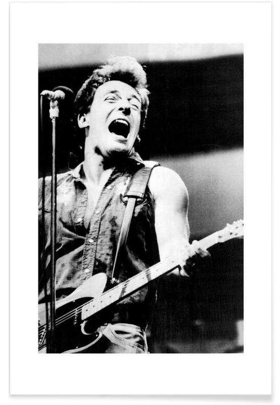 Bruce Springsteen, Noir & blanc, Rock, Bruce Springsteen, 1985 - Photographie vintage affiche