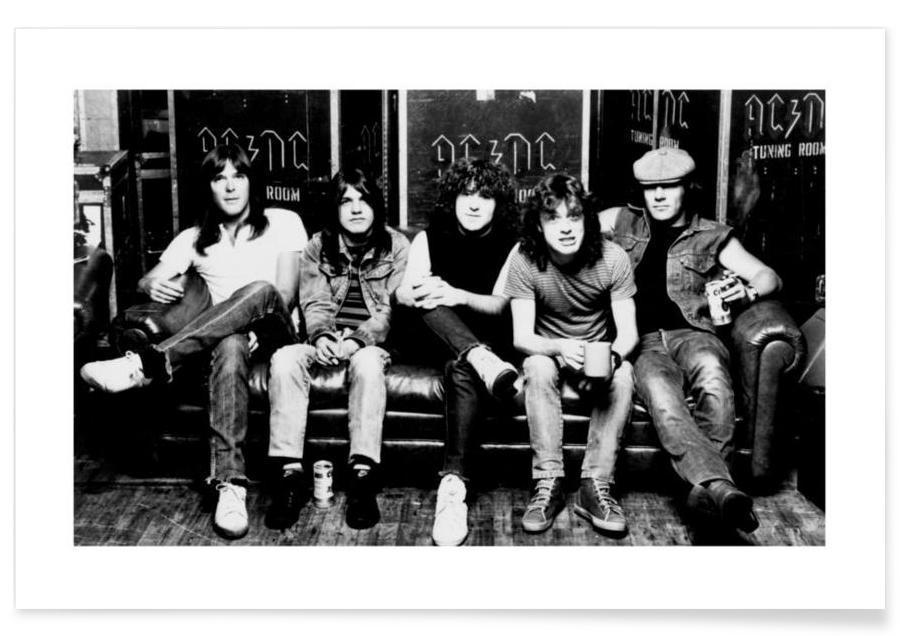 Noir & blanc, Rock, AC/DC - Photographie vintage affiche