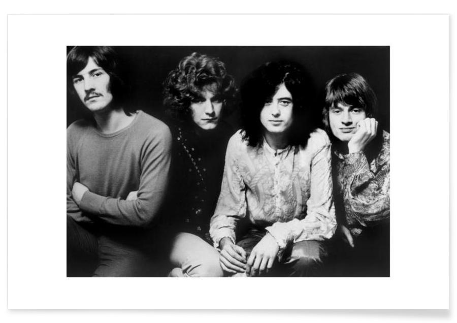 Zwart en wit, Rock, Vintage foto van Led Zeppelin poster