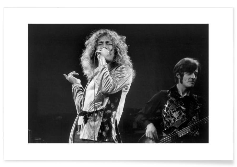 Noir & blanc, Rock, Robert Plant - Photographie vintage affiche