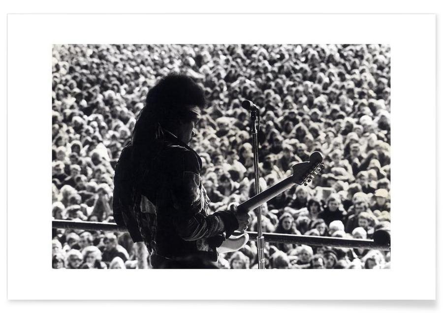Jimi Hendrix, Noir & blanc, Rock, Jimi Hendrix - Photographie vintage affiche