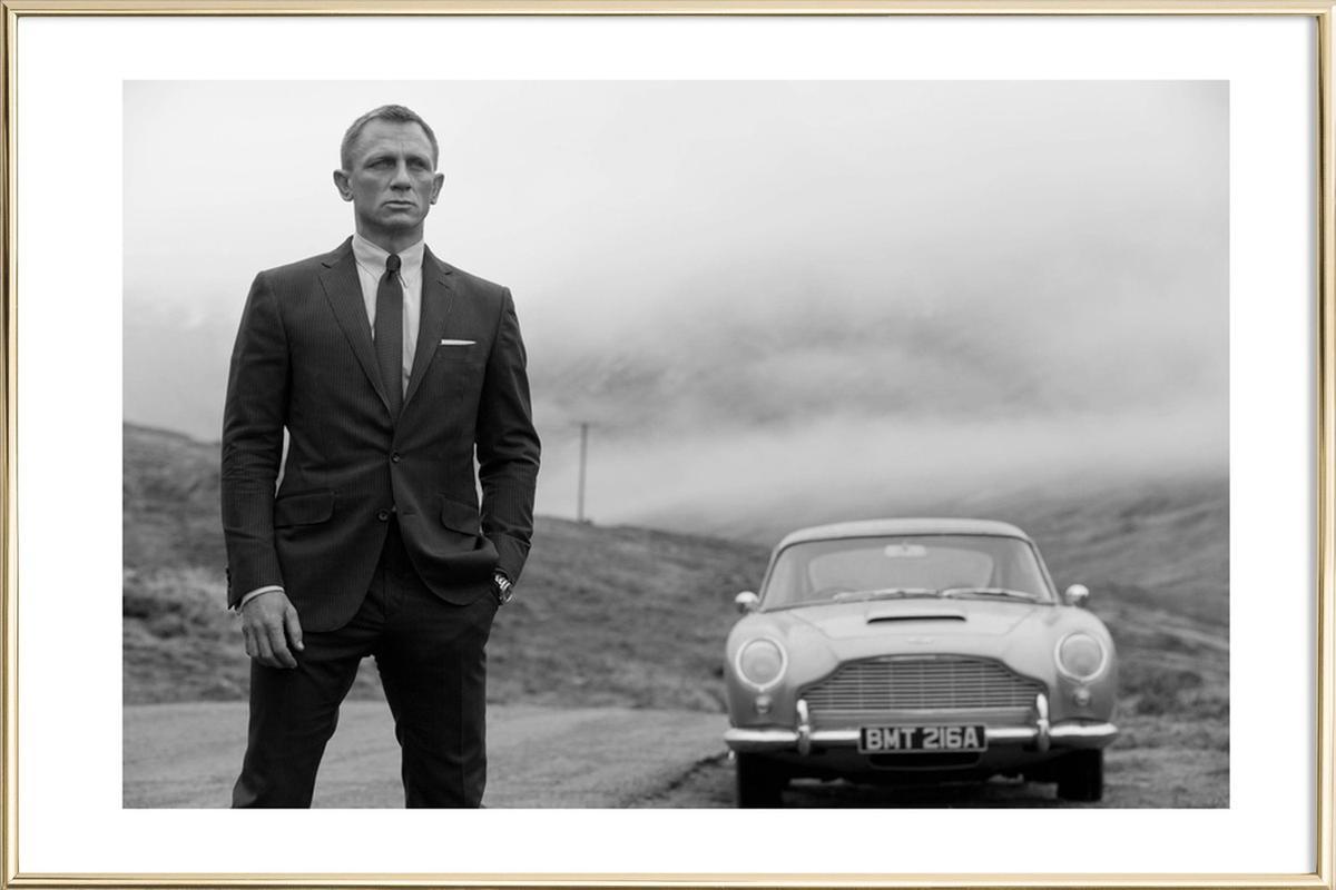 Daniel Craig as James Bond Poster in Aluminium Frame