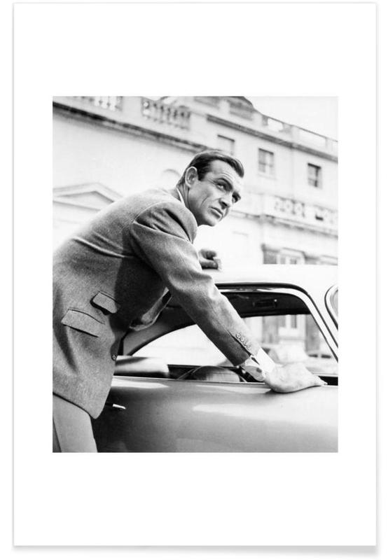 James Bond, Svart & vit, Sean Connery as James Bond in Goldfinger, 1964 Poster