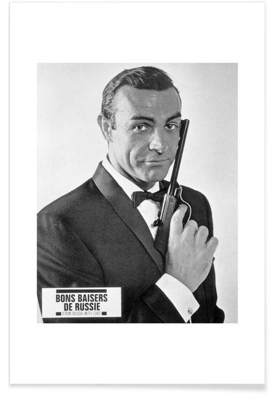 James Bond, Black & White, Sean Connery in From Russia With Love Poster