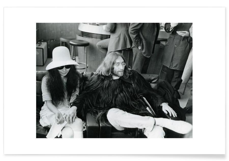 The Beatles, Noir & blanc, Rock, John Lennon et Yoko Ono - Photographie affiche