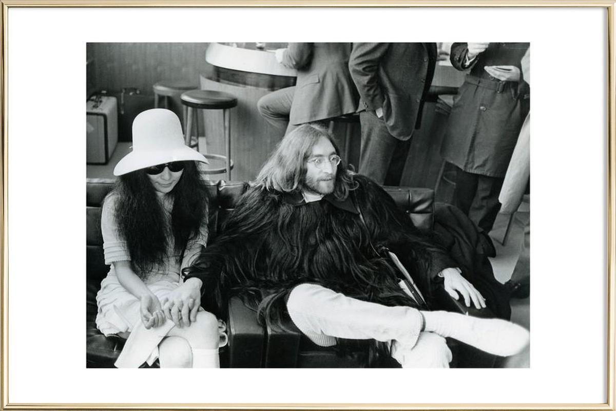 John Lennon and Yoko Ono -Poster im Alurahmen