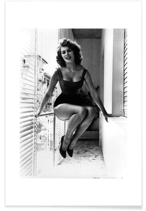 Zwart en wit, Foto van Sophia Loren poster