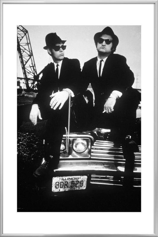 Dan Akroyd and John Belushi in Blues Brothes, 1980 poster in aluminium lijst