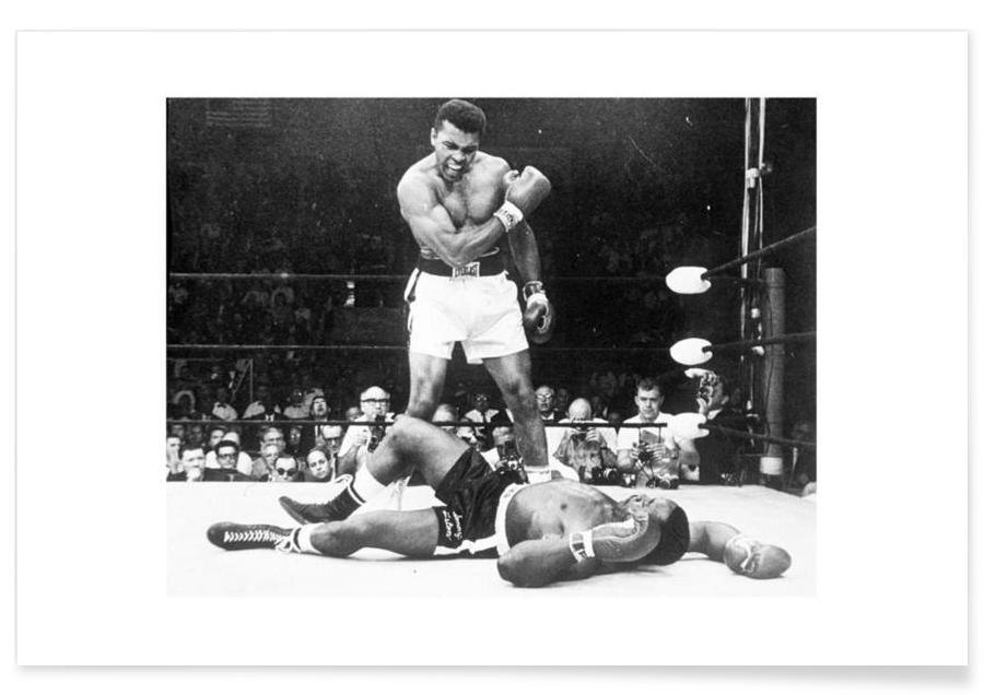 Boxe, Mohamed Ali, Noir & blanc, Muhammad Ali en revanche avec Sonny Liston, 1965 - Photographie affiche