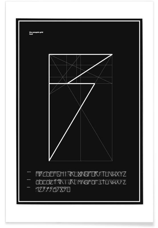 Alphabet et lettres, Noir & blanc, Penguin Grid Font affiche