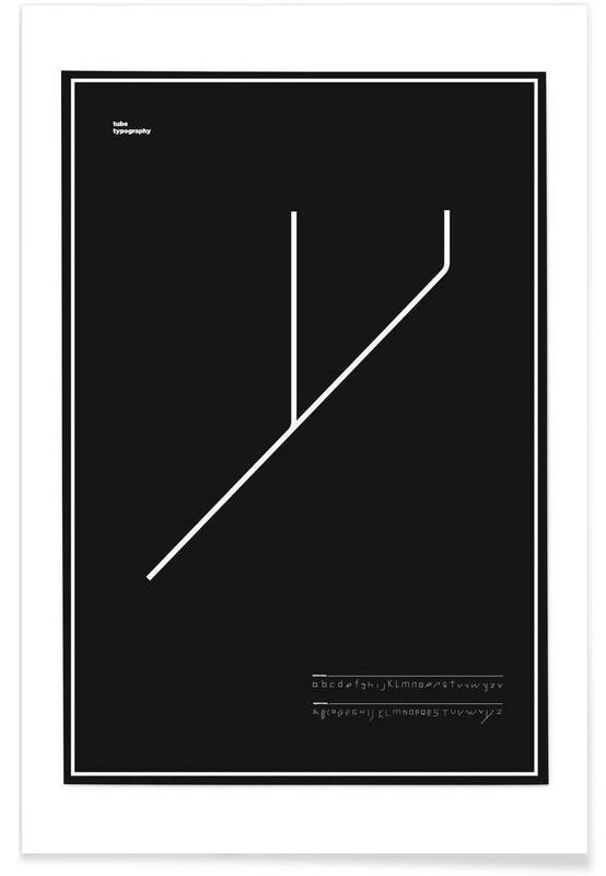 Alphabet et lettres, Noir & blanc, Tube Font affiche