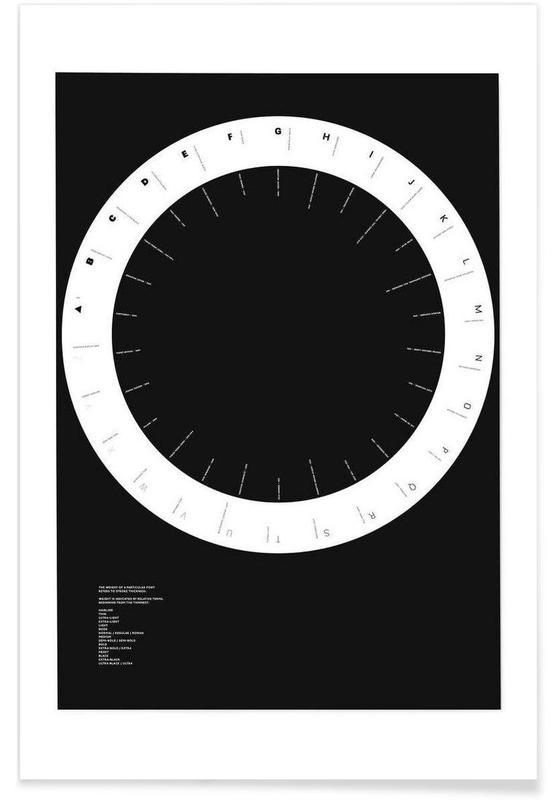 Alphabet et lettres, Noir & blanc, Width Classification affiche
