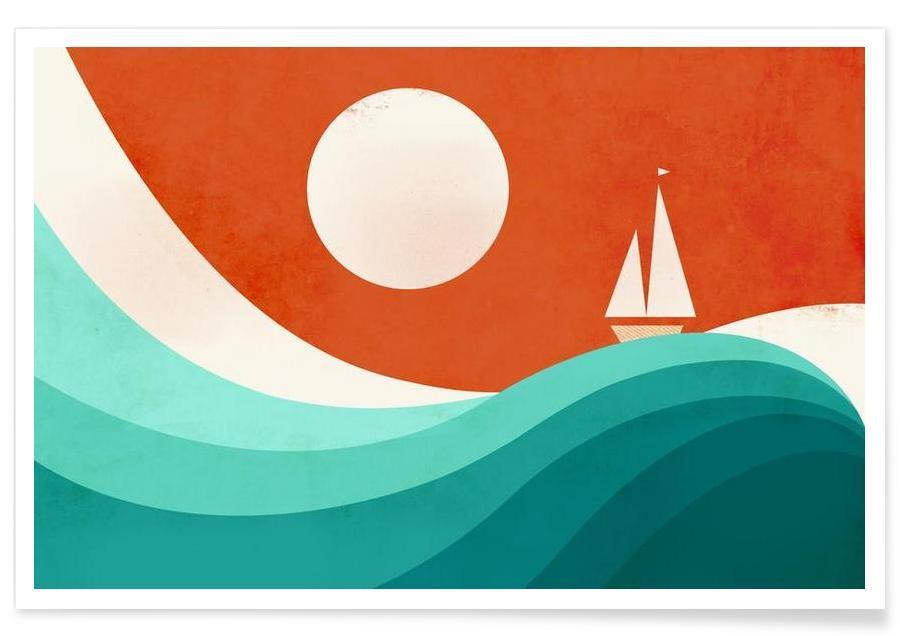 Paysages abstraits, Bateaux, Wave Night affiche