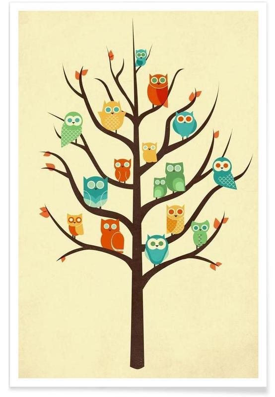 Art pour enfants, Chouettes, Owl Welcome affiche