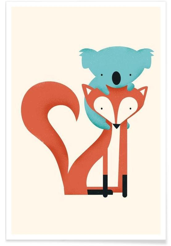 Art pour enfants, Renards, Koalas, Fox and Koala affiche