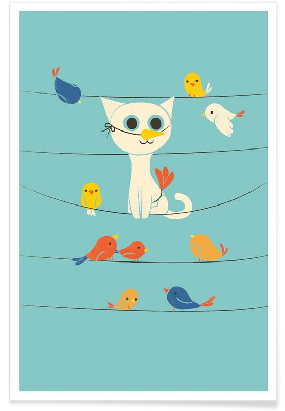 Cats, Nursery & Art for Kids, Bird Watching Poster