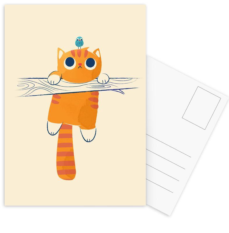 Cats, Nursery & Art for Kids, Fat Cat Little Bird Postcard Set