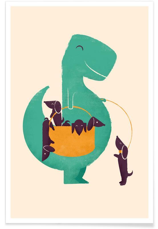 Art pour enfants, Dinosaures, Chiens, Trex Weiner affiche