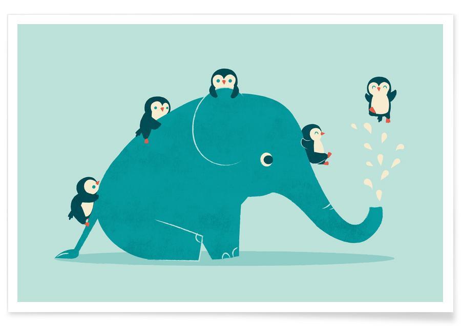 Børneværelse & kunst for børn, Elefanter, Pinguiner, Vandrutsjebane Plakat