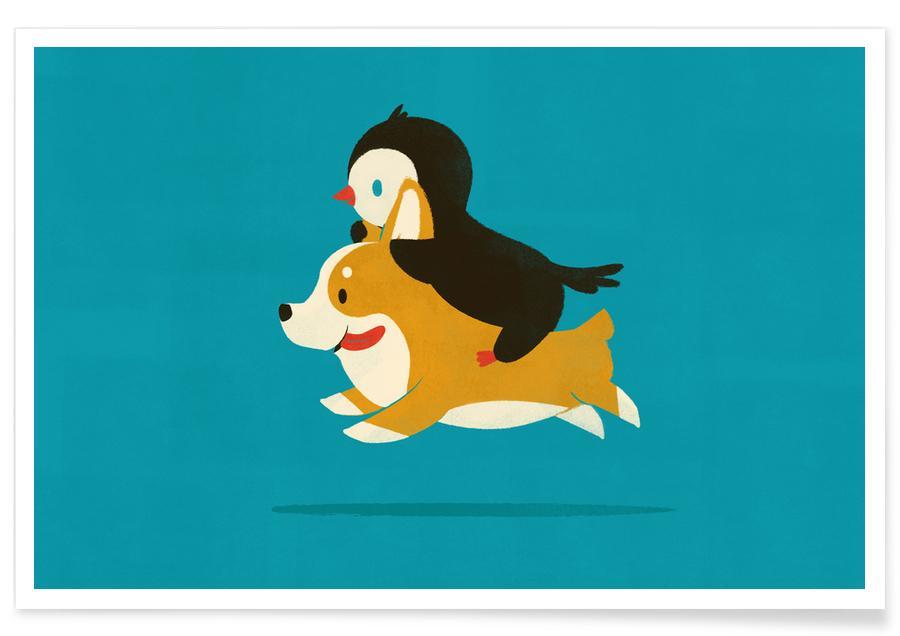 Art pour enfants, Chiens, Pingouins, Like The Wind affiche