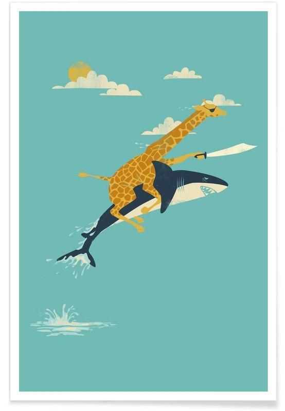 Girafes, Art pour enfants, Requins, Onward affiche