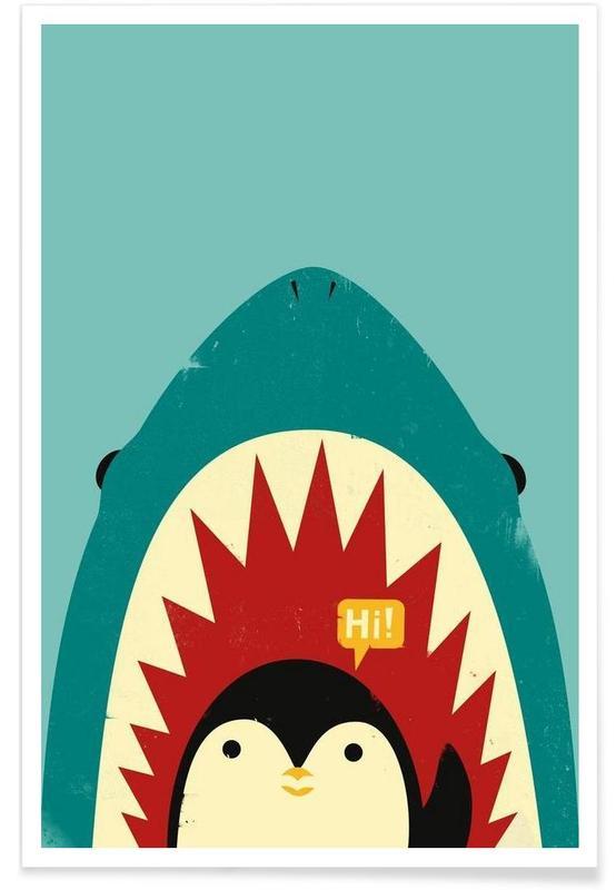Art pour enfants, Pingouins, Requins, Hi affiche