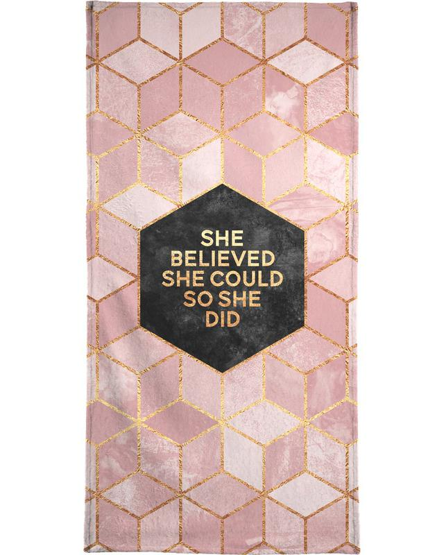 Motivational, She Believed She Could Beach Towel