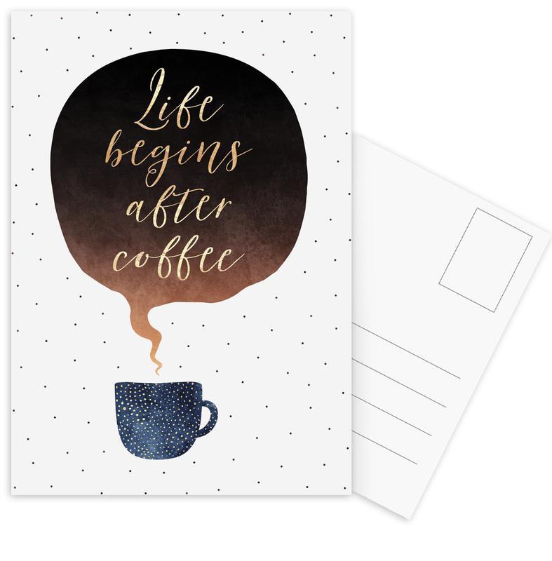 Life Begins After Coffee -Postkartenset