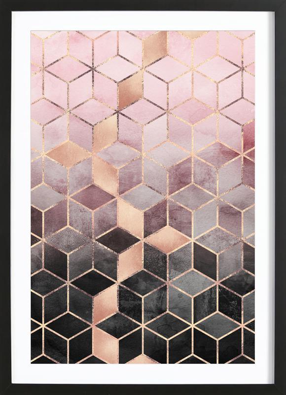 Pink Grey Gradient Cubes ingelijste print