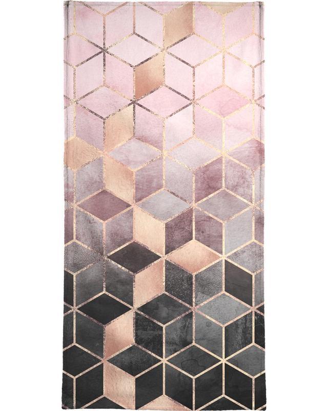 Pink Grey Gradient Cubes Bath Towel