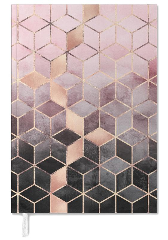 Pink Grey Gradient Cubes Personal Planner