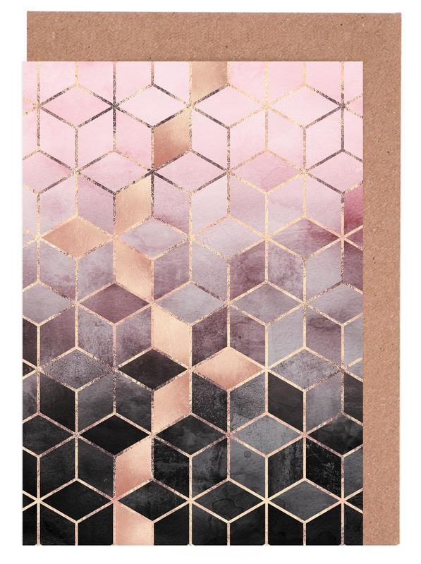 Pink Grey Gradient Cubes -Grußkarten-Set