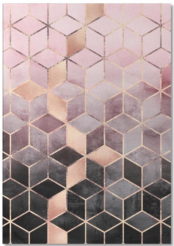 Pink Grey Gradient Cubes -Notizblock